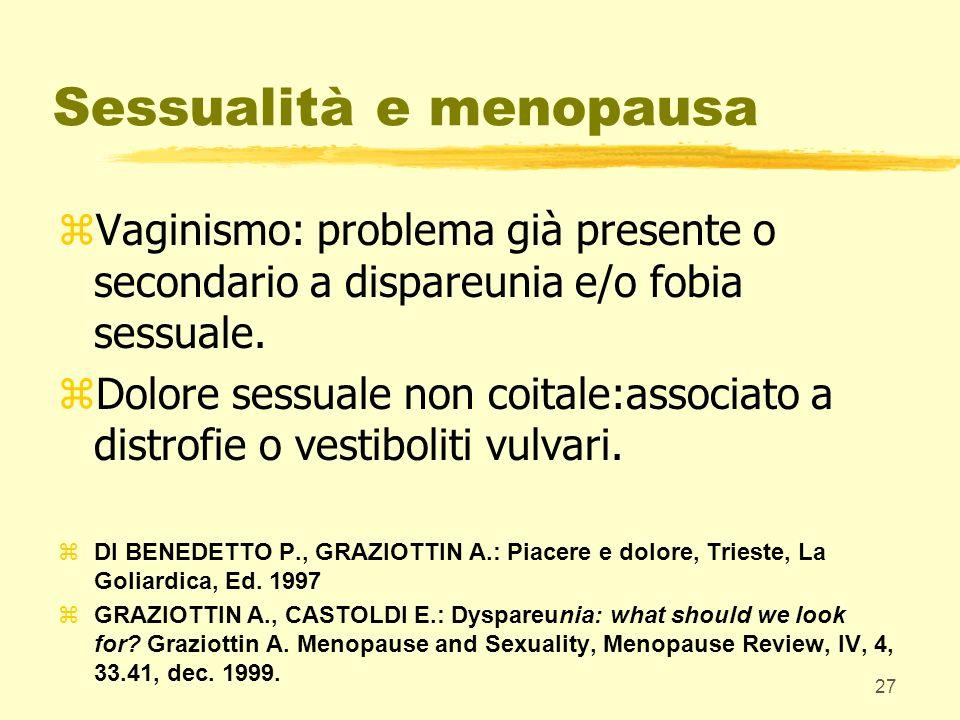 27 Sessualità e menopausa zVaginismo: problema già presente o secondario a dispareunia e/o fobia sessuale. zDolore sessuale non coitale:associato a di