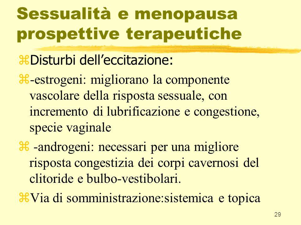 29 Sessualità e menopausa prospettive terapeutiche zDisturbi delleccitazione: z-estrogeni: migliorano la componente vascolare della risposta sessuale,
