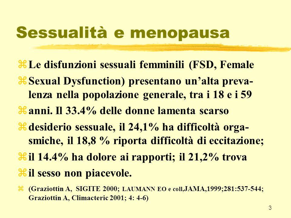 4 Sessualità e menopausa zCLASSIFICAZIONE ATTUALE DELLE DISFUNZIONI SESSUALI FEMMINILI: zDisturbo del desiderio sessuale (Sexual Desire Disorders) zDisturbo delleccitamento (Sexual arousal disorder) zDisturbo dellorgasmo (Orgasmic Disorder) zDisturbo caratterizzato da dolore sessuale (Sexual Pain Disorders) (CONSENSUS PANEL ON DEFINITIONS AND CLASSIFICATIONS OF FEMALE SEXUAL DYSFUNCTION.