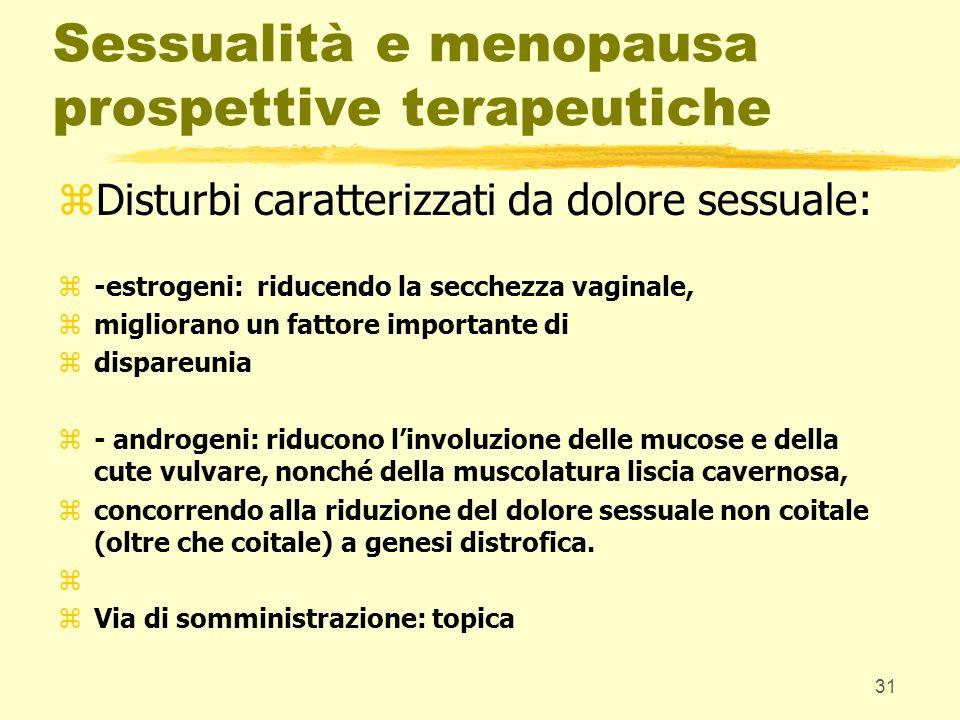 31 Sessualità e menopausa prospettive terapeutiche zDisturbi caratterizzati da dolore sessuale: z-estrogeni: riducendo la secchezza vaginale, zmiglior