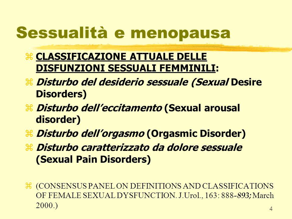 4 Sessualità e menopausa zCLASSIFICAZIONE ATTUALE DELLE DISFUNZIONI SESSUALI FEMMINILI: zDisturbo del desiderio sessuale (Sexual Desire Disorders) zDi