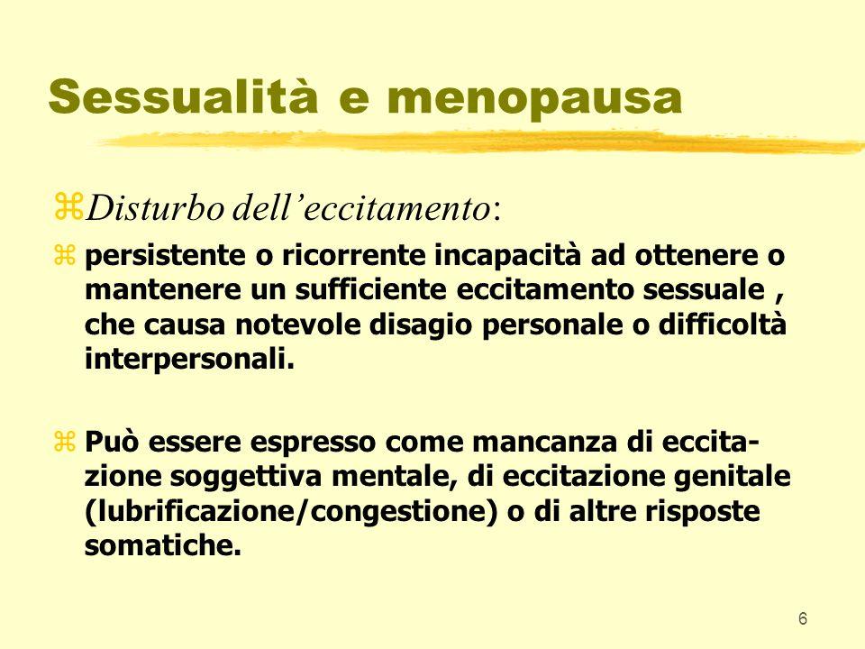 17 Sessualità e menopausa Disturbi delleccitamento : prevalenza: 30-40% delle donne sessualmente attive in post-menopausa.