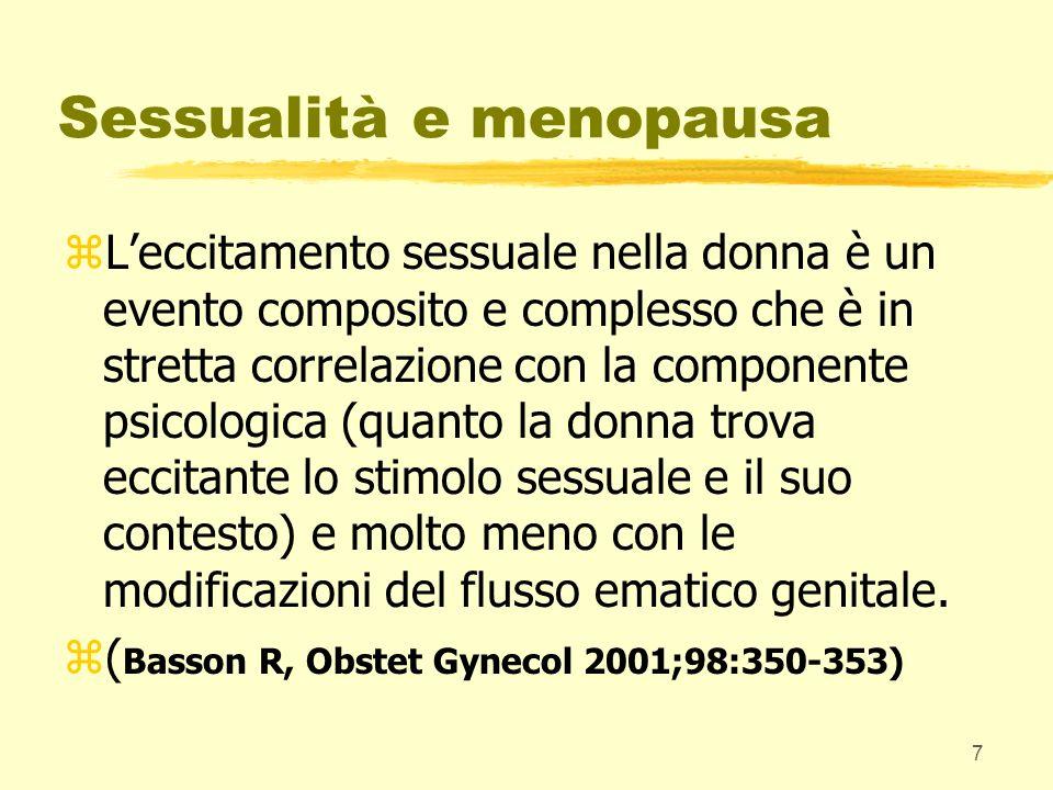 28 Sessualità e menopausa: prospettive terapeutiche zDisturbi del desiderio: z-estrogeni (miglioramento di trofismo con utilizzo anche locale, sintomi vasomotori, neurovegetativi e psichici); z-androgeni (migliorano la componente biologico-istintuale del desiderio) zVia di somministrazione: sistemica