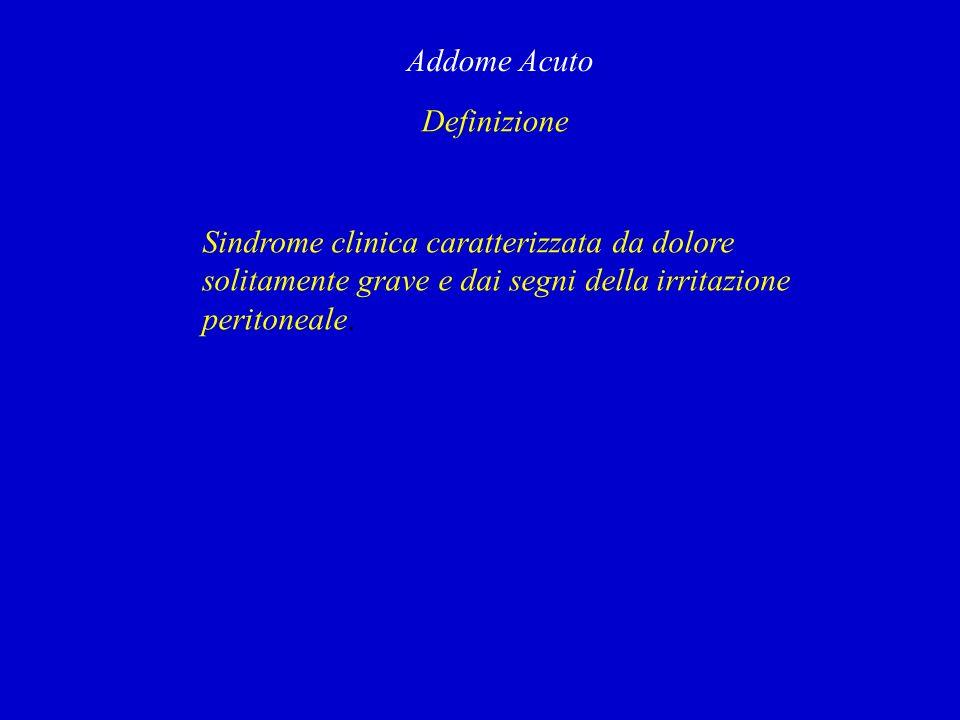 Definizione Addome Acuto Sindrome clinica caratterizzata da dolore solitamente grave e dai segni della irritazione peritoneale.