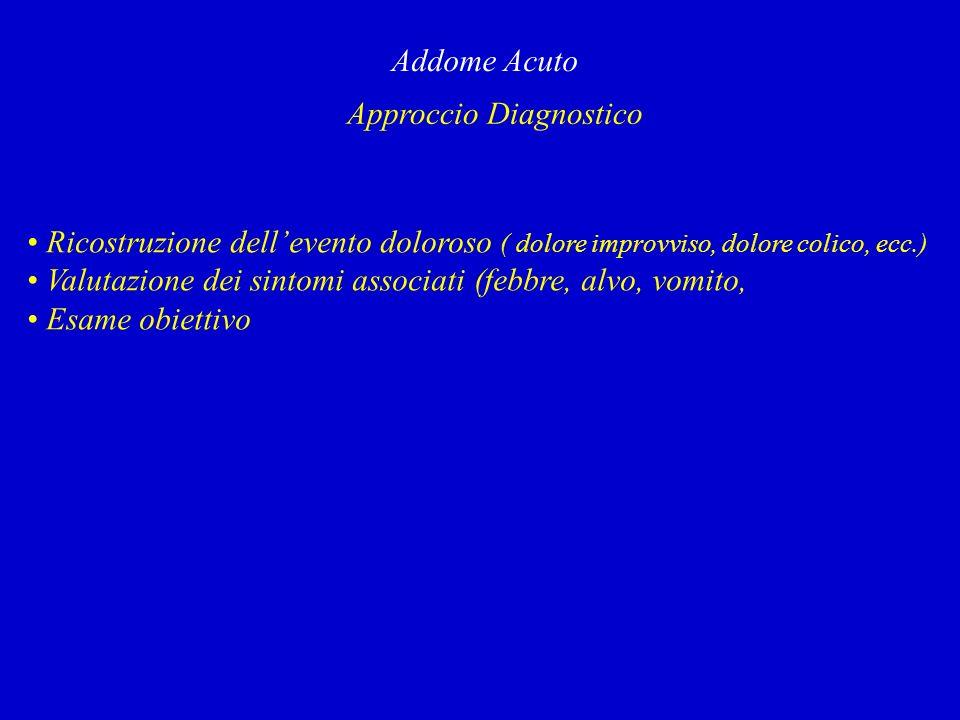 Approccio Diagnostico Addome Acuto Ricostruzione dellevento doloroso ( dolore improvviso, dolore colico, ecc.) Valutazione dei sintomi associati (febbre, alvo, vomito, Esame obiettivo