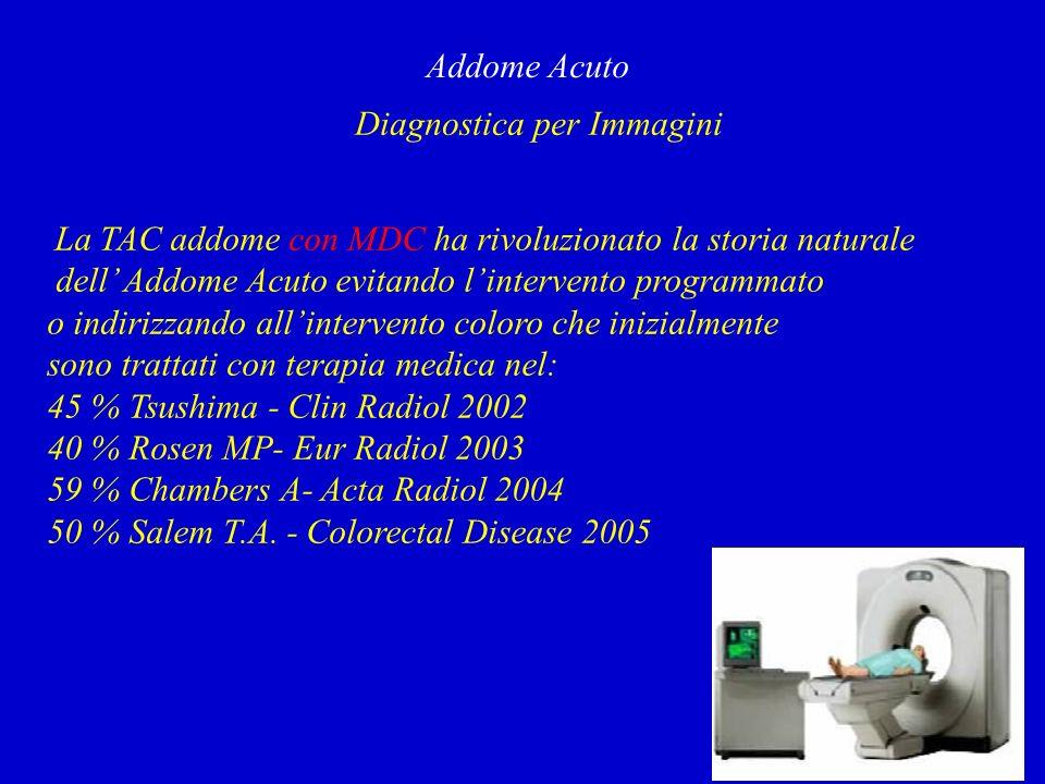 Diagnostica per Immagini Addome Acuto La TAC addome con MDC ha rivoluzionato la storia naturale dell Addome Acuto evitando lintervento programmato o indirizzando allintervento coloro che inizialmente sono trattati con terapia medica nel: 45 % Tsushima - Clin Radiol 2002 40 % Rosen MP- Eur Radiol 2003 59 % Chambers A- Acta Radiol 2004 50 % Salem T.A.
