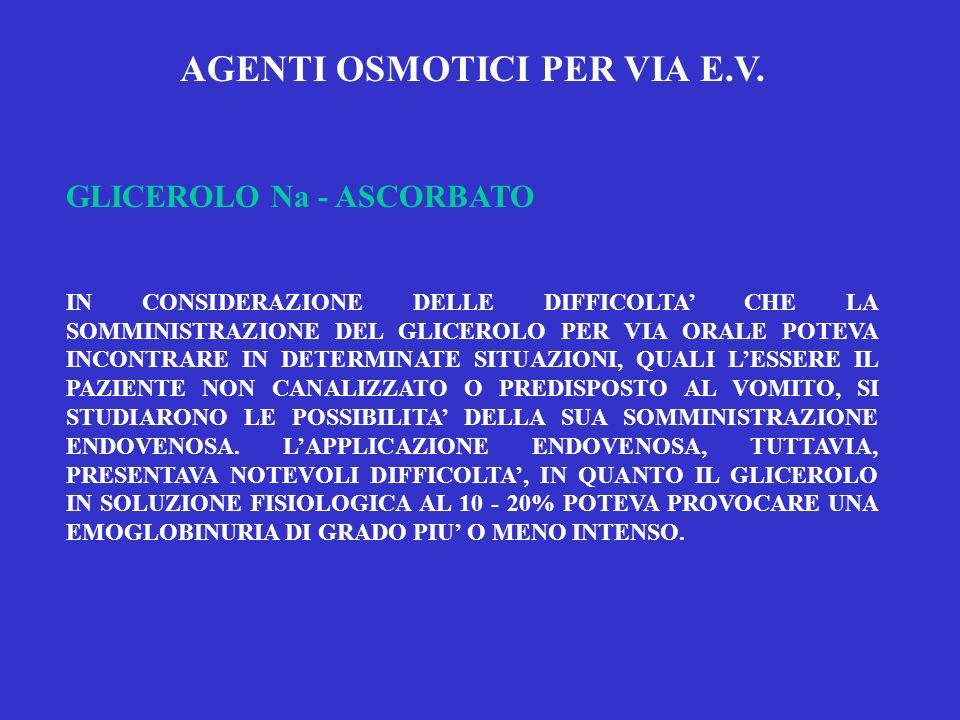 AGENTI OSMOTICI PER VIA E.V. GLICEROLO Na - ASCORBATO IN CONSIDERAZIONE DELLE DIFFICOLTA CHE LA SOMMINISTRAZIONE DEL GLICEROLO PER VIA ORALE POTEVA IN