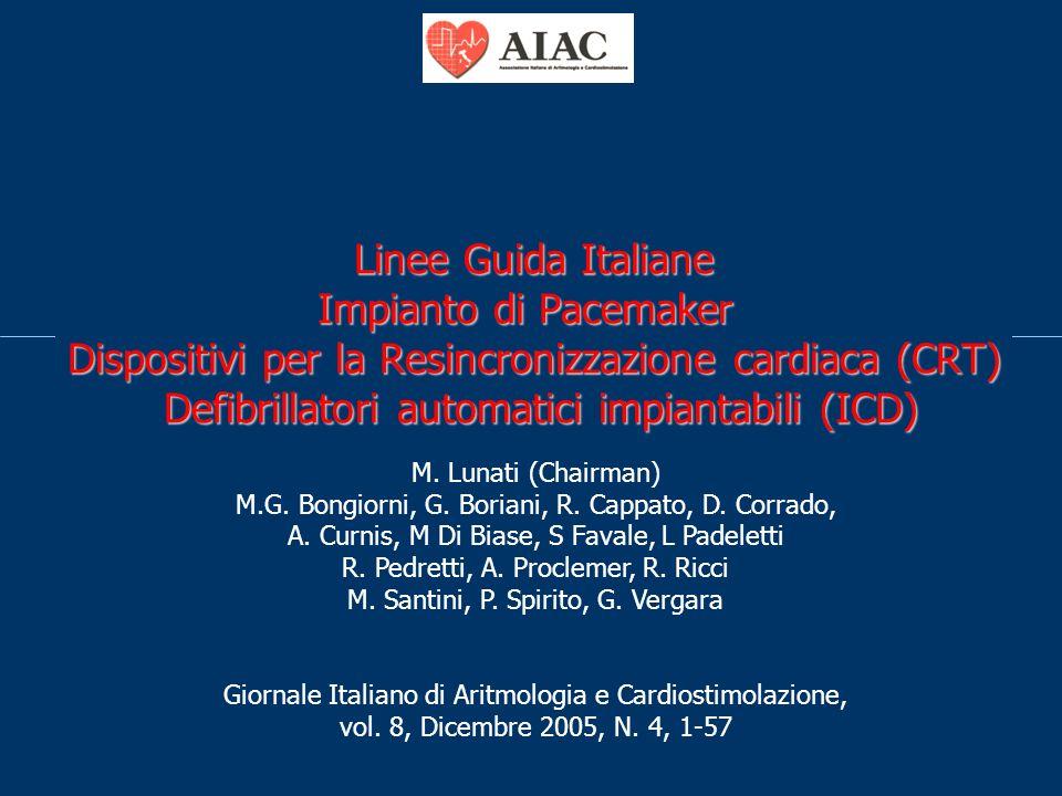 Linee Guida Italiane Impianto di Pacemaker Dispositivi per la Resincronizzazione cardiaca (CRT) Defibrillatori automatici impiantabili (ICD) M. Lunati