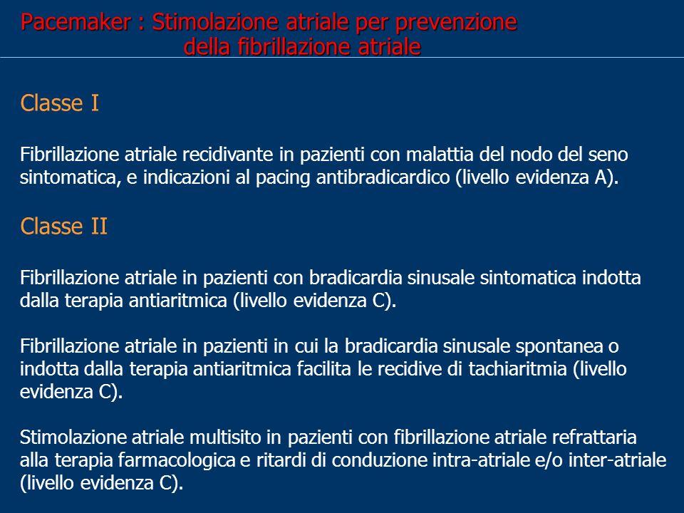 Pacemaker : Stimolazione atriale per prevenzione della fibrillazione atriale Classe I Fibrillazione atriale recidivante in pazienti con malattia del nodo del seno sintomatica, e indicazioni al pacing antibradicardico (livello evidenza A).