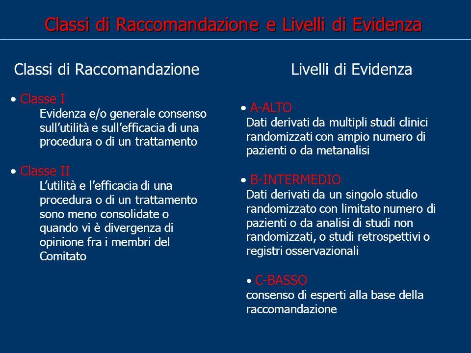 Classi di Raccomandazione e Livelli di Evidenza Classe I Evidenza e/o generale consenso sullutilità e sullefficacia di una procedura o di un trattamen