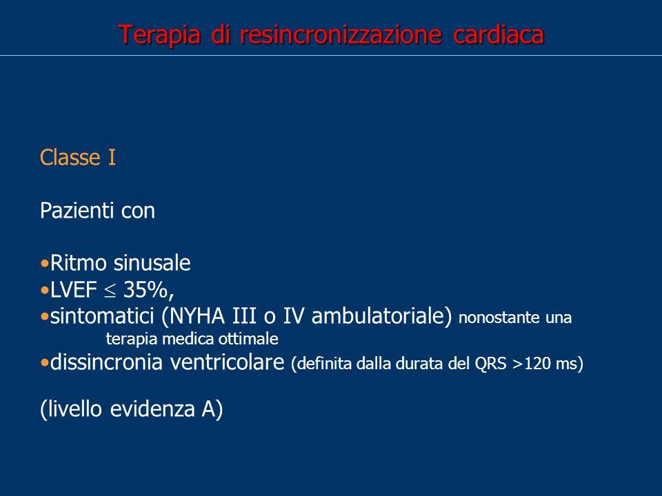 Terapia di resincronizzazione cardiaca Classe I Pazienti con Ritmo sinusale LVEF 35%, sintomatici (NYHA III o IV ambulatoriale) nonostante una terapia medica ottimale dissincronia ventricolare (definita dalla durata del QRS >120 ms) (livello evidenza A)