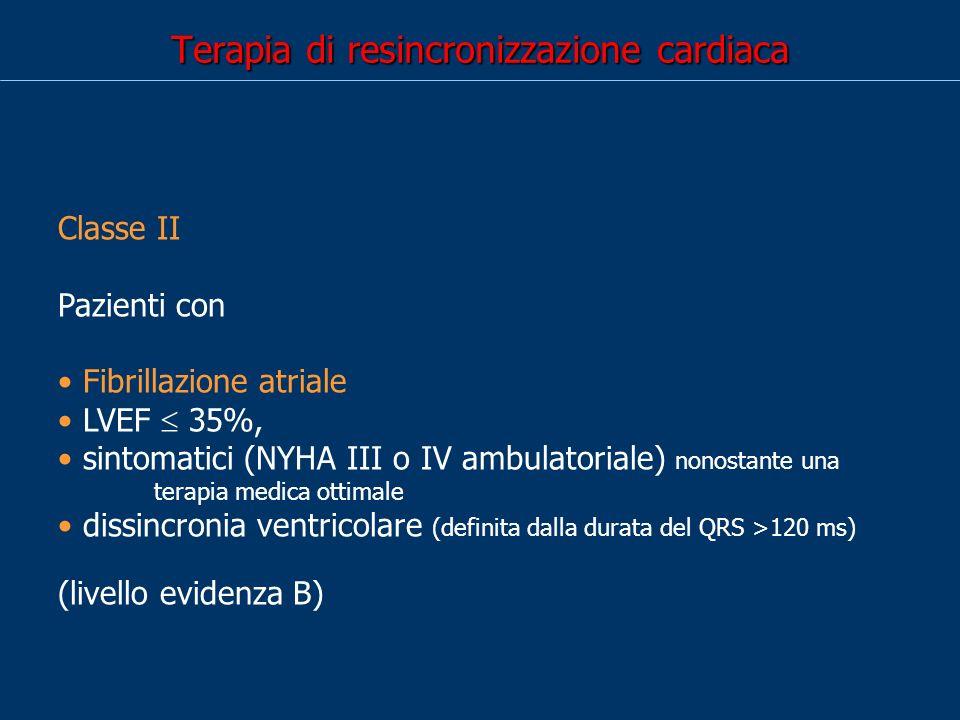 Terapia di resincronizzazione cardiaca Classe II Pazienti con Fibrillazione atriale LVEF 35%, sintomatici (NYHA III o IV ambulatoriale) nonostante una terapia medica ottimale dissincronia ventricolare (definita dalla durata del QRS >120 ms) (livello evidenza B)