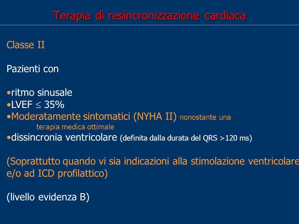 Terapia di resincronizzazione cardiaca Classe II Pazienti con Stimolazione ventricolare destra cronica LVEF 35%, sintomatici (NYHA III-IV) nonostante una terapia medica ottimale dissincronia ventricolare (livello evidenza C)
