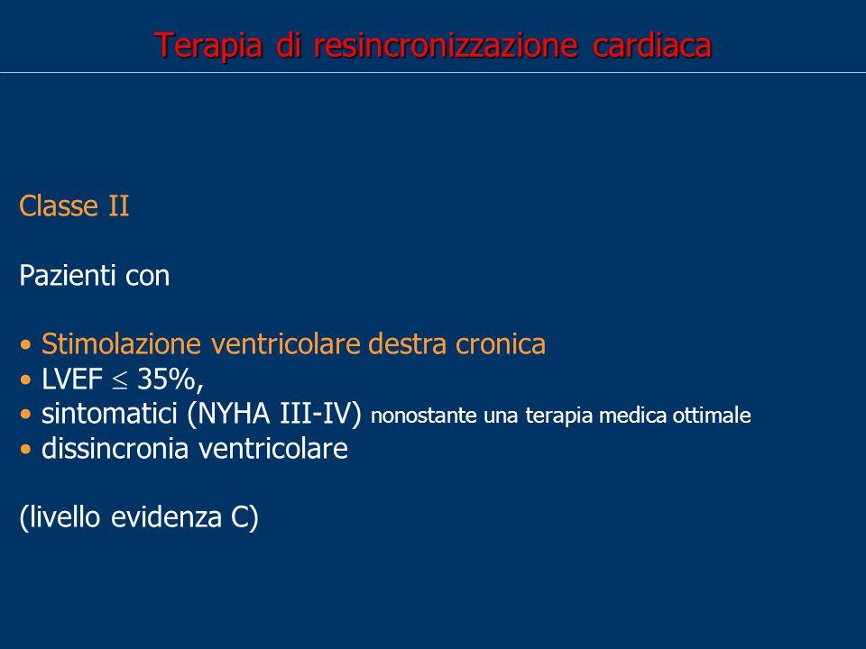 Terapia di resincronizzazione cardiaca Classe II Pazienti con Stimolazione ventricolare destra cronica LVEF 35%, sintomatici (NYHA III-IV) nonostante