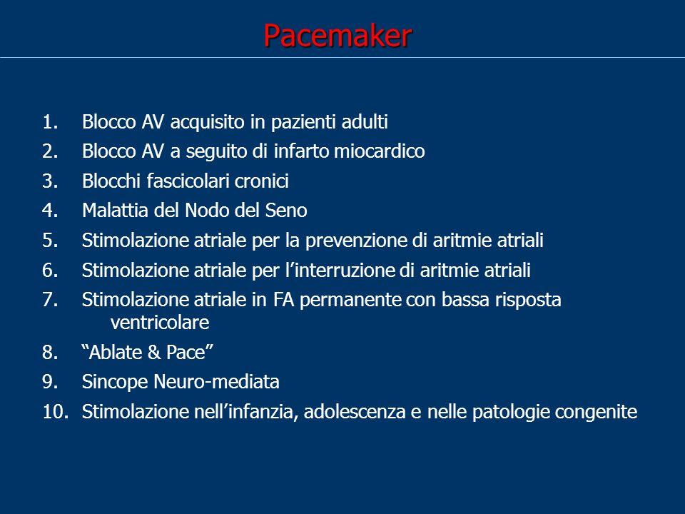 Pacemaker 1. Blocco AV acquisito in pazienti adulti 2. Blocco AV a seguito di infarto miocardico 3. Blocchi fascicolari cronici 4. Malattia del Nodo d