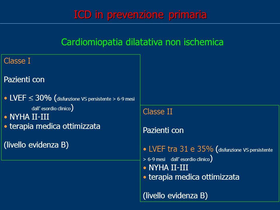 ICD in prevenzione primaria Classe I Pazienti con LVEF 30% ( disfunzione VS persistente > 6-9 mesi dall esordio clinico ) NYHA II-III terapia medica ottimizzata (livello evidenza B) Cardiomiopatia dilatativa non ischemica Classe II Pazienti con LVEF tra 31 e 35% ( disfunzione VS persistente > 6-9 mesi dall esordio clinico ) NYHA II-III terapia medica ottimizzata (livello evidenza B)