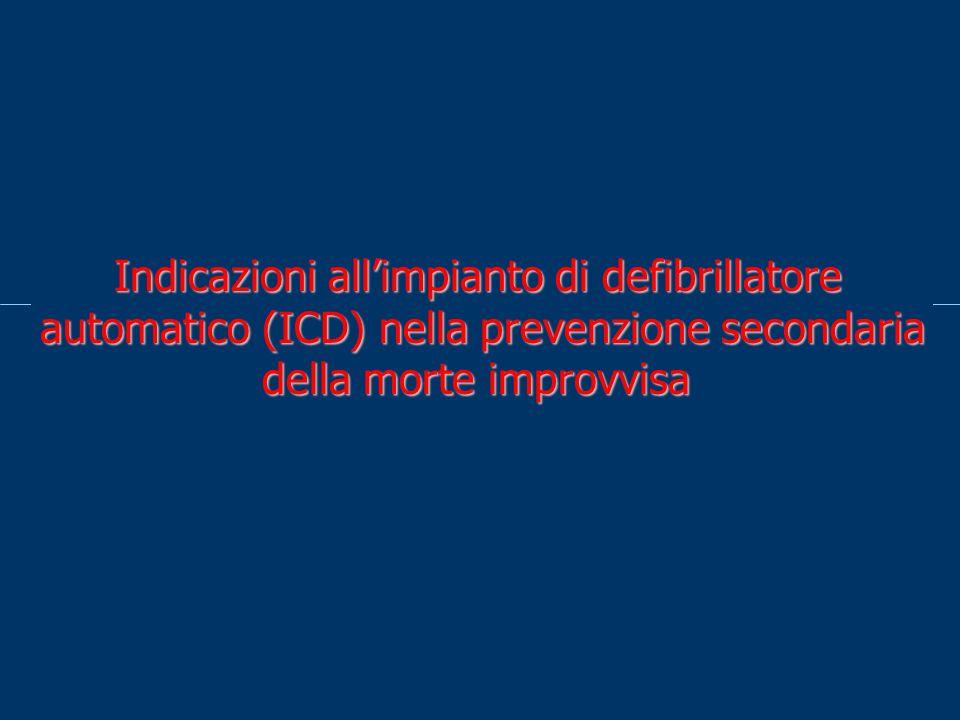 Indicazioni allimpianto di defibrillatore automatico (ICD) nella prevenzione secondaria della morte improvvisa