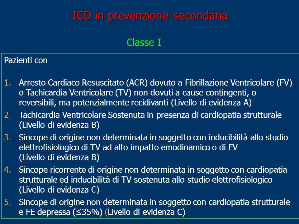 ICD in prevenzione secondaria Pazienti con 1.Arresto Cardiaco Resuscitato (ACR) dovuto a Fibrillazione Ventricolare (FV) o Tachicardia Ventricolare (T