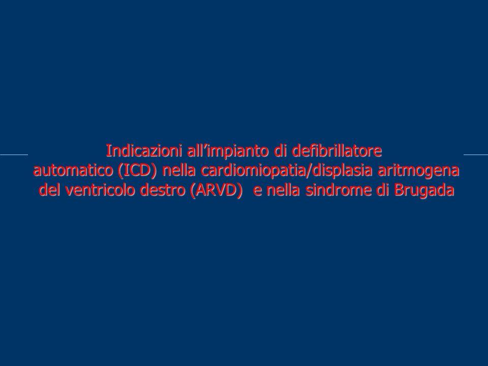 Indicazioni allimpianto di defibrillatore automatico (ICD) nella cardiomiopatia/displasia aritmogena del ventricolo destro (ARVD) e nella sindrome di Brugada