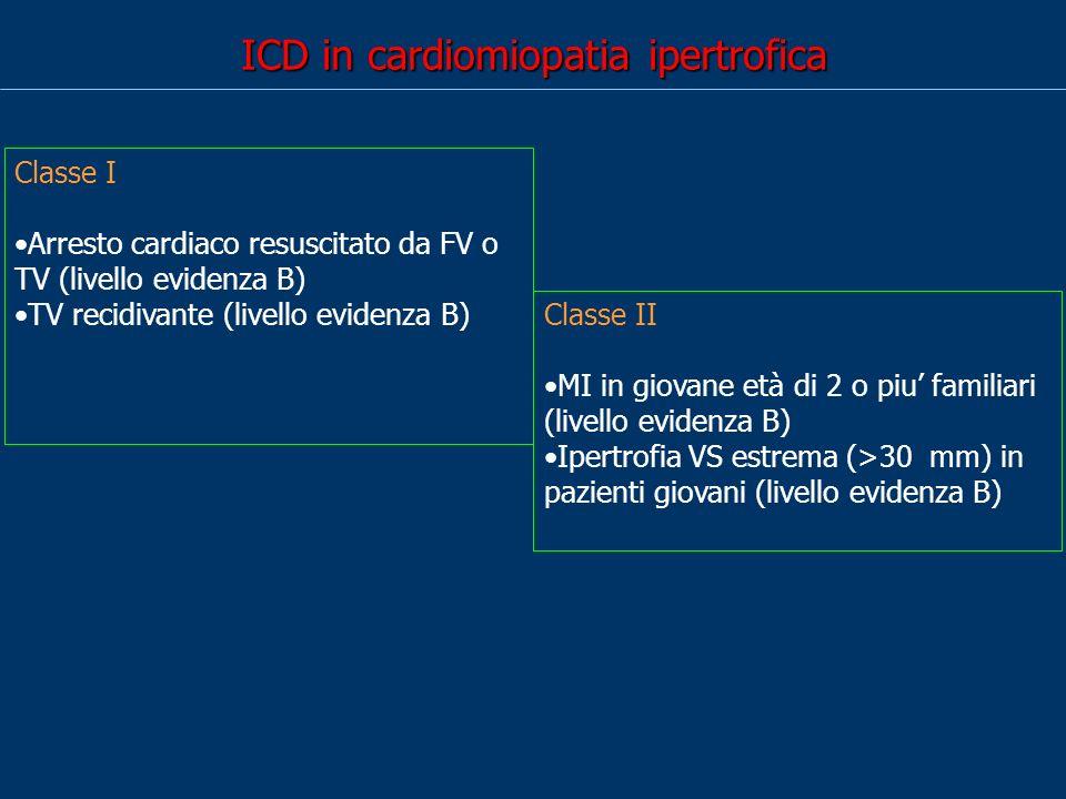 ICD in cardiomiopatia ipertrofica Classe I Arresto cardiaco resuscitato da FV o TV (livello evidenza B) TV recidivante (livello evidenza B) Classe II MI in giovane età di 2 o piu familiari (livello evidenza B) Ipertrofia VS estrema (>30 mm) in pazienti giovani (livello evidenza B)