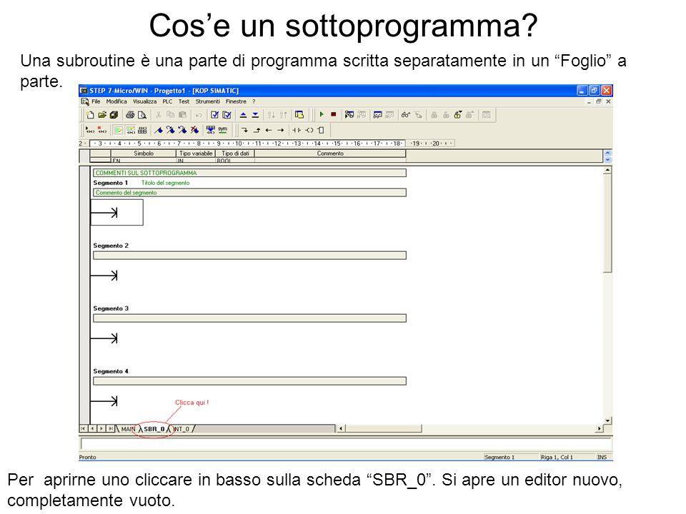 Cose un sottoprogramma? Una subroutine è una parte di programma scritta separatamente in un Foglio a parte. Per aprirne uno cliccare in basso sulla sc