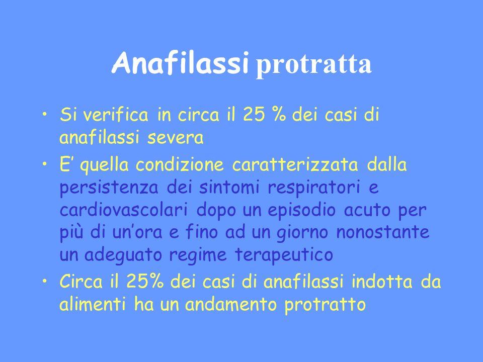 Anafilassi protratta Si verifica in circa il 25 % dei casi di anafilassi severa E quella condizione caratterizzata dalla persistenza dei sintomi respi