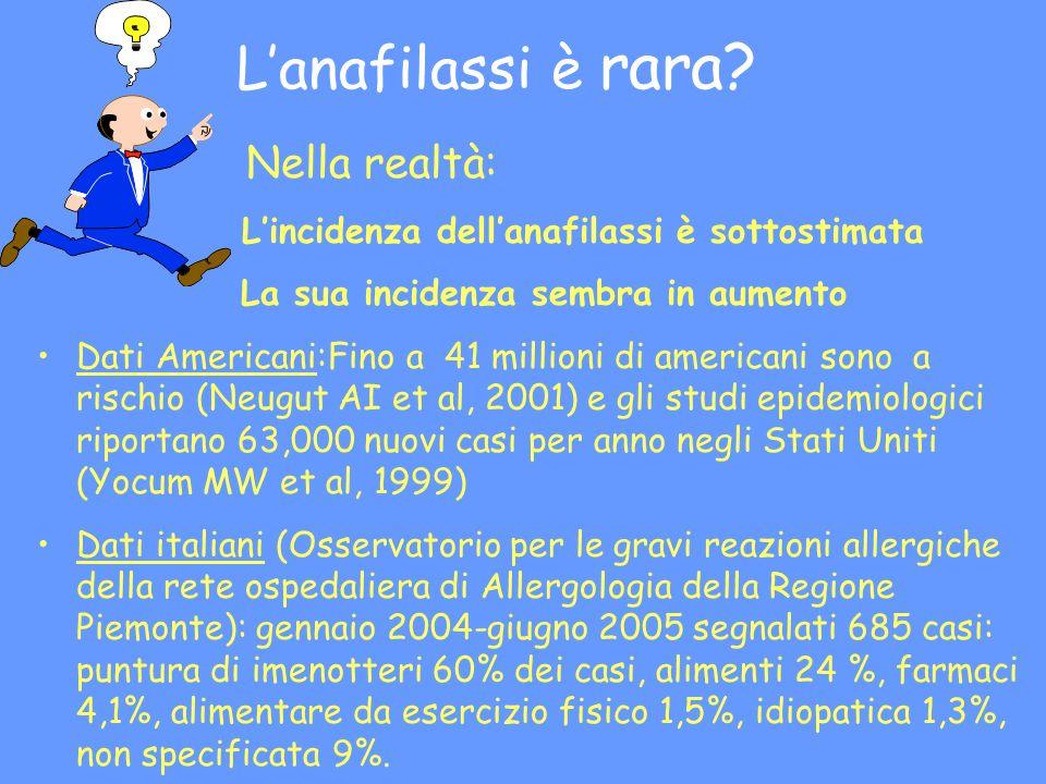 Definizione di anafilassi E una reazione allergica generalizzata »Interessa tutto lorganismo »Più organi possono essere coinvolti Ha un inizio generalmente acuto, improvviso La gravità delle manifestazioni variano da lieve a fatali