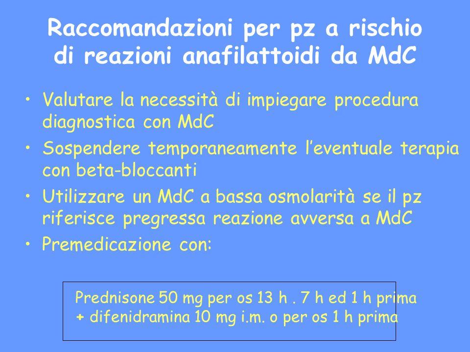 Raccomandazioni per pz a rischio di reazioni anafilattoidi da MdC Valutare la necessità di impiegare procedura diagnostica con MdC Sospendere temporan