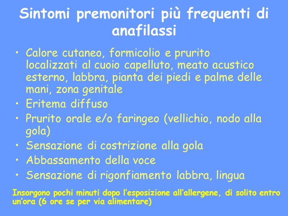 Sintomi premonitori più frequenti di anafilassi Calore cutaneo, formicolio e prurito localizzati al cuoio capelluto, meato acustico esterno, labbra, p