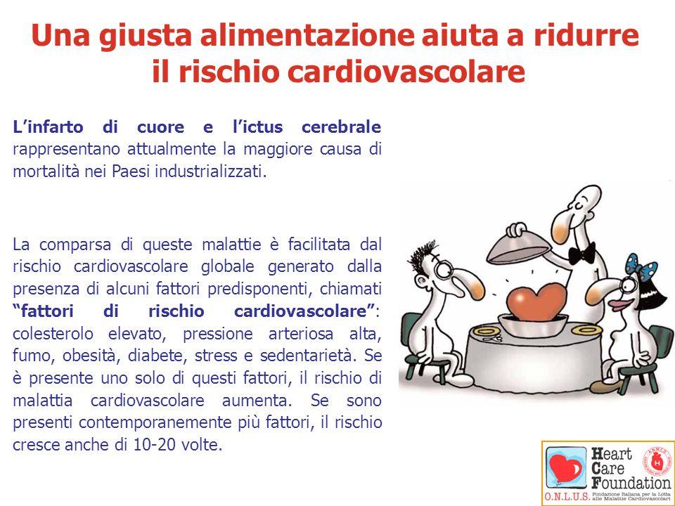 Una giusta alimentazione aiuta a ridurre il rischio cardiovascolare Linfarto di cuore e lictus cerebrale rappresentano attualmente la maggiore causa d