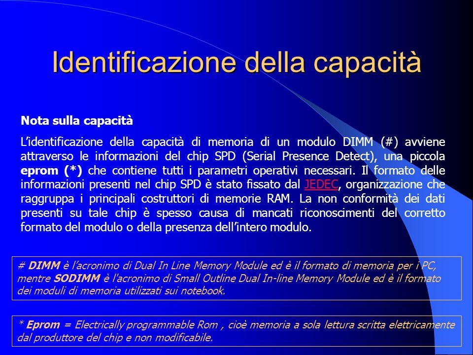 Identificazione della capacità Nota sulla capacità Lidentificazione della capacità di memoria di un modulo DIMM (#) avviene attraverso le informazioni
