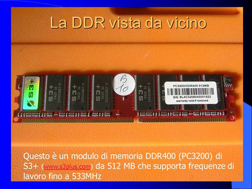 La DDR vista da vicino Questo è un modulo di memoria DDR400 (PC3200) di S3+ (www.s3plus.com) da 512 MB che supporta frequenze di lavoro fino a 533MHzw