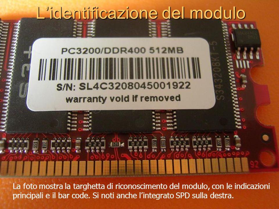 Lidentificazione del modulo La foto mostra la targhetta di riconoscimento del modulo, con le indicazioni principali e il bar code. Si noti anche linte