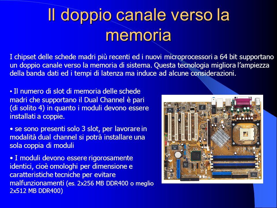 Il doppio canale verso la memoria I chipset delle schede madri più recenti ed i nuovi microprocessori a 64 bit supportano un doppio canale verso la me