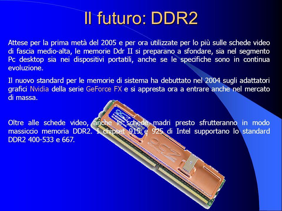 Il futuro: DDR2 Attese per la prima metà del 2005 e per ora utilizzate per lo più sulle schede video di fascia medio-alta, le memorie Ddr II si prepar