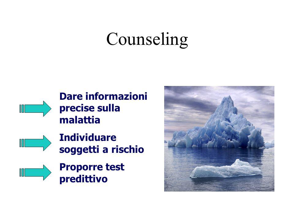Counseling Dare informazioni precise sulla malattia Individuare soggetti a rischio Proporre test predittivo