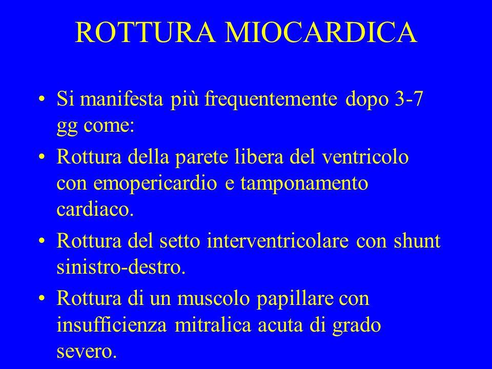 ROTTURA MIOCARDICA Si manifesta più frequentemente dopo 3-7 gg come: Rottura della parete libera del ventricolo con emopericardio e tamponamento cardi