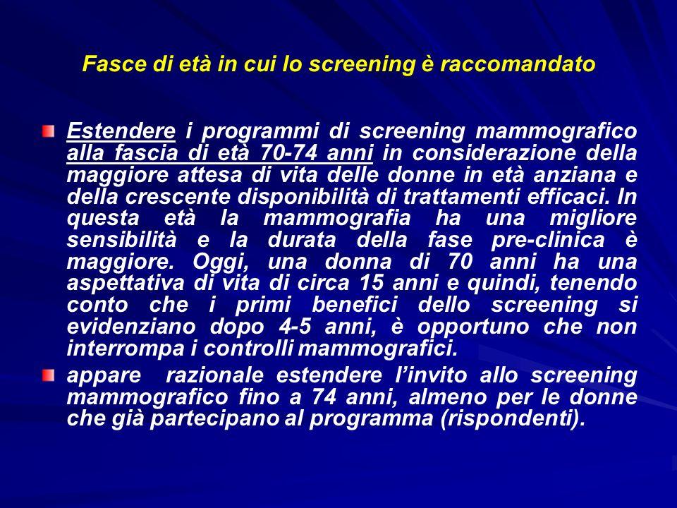 Fasce di età in cui lo screening è raccomandato Estendere i programmi di screening mammografico alla fascia di età 70-74 anni in considerazione della
