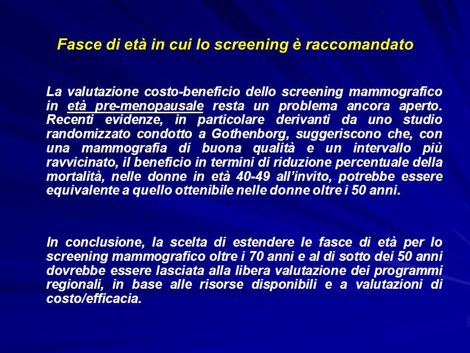 Fasce di età in cui lo screening è raccomandato La valutazione costo-beneficio dello screening mammografico in età pre-menopausale resta un problema a