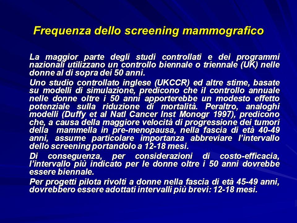 Frequenza dello screening mammografico La maggior parte degli studi controllati e dei programmi nazionali utilizzano un controllo biennale o triennale