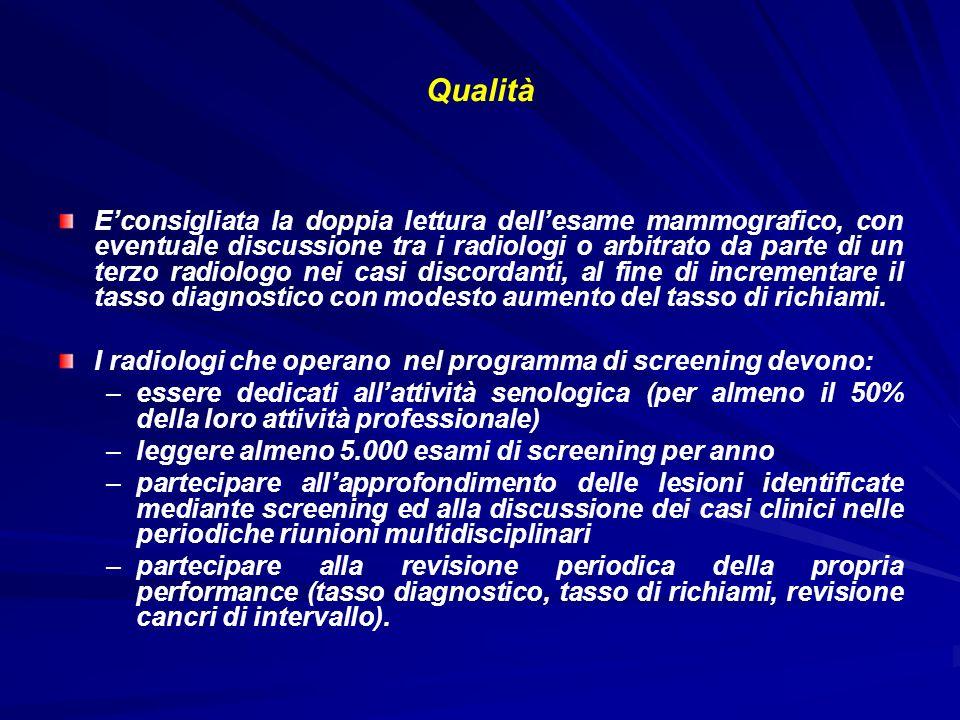 Qualità Econsigliata la doppia lettura dellesame mammografico, con eventuale discussione tra i radiologi o arbitrato da parte di un terzo radiologo ne
