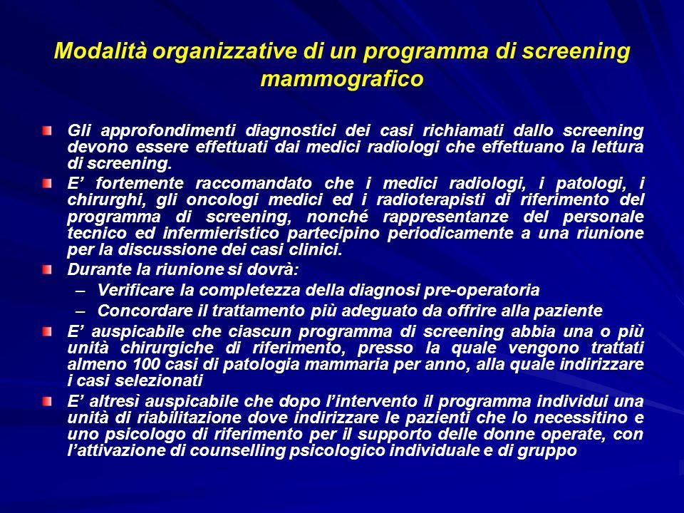 Modalità organizzative di un programma di screening mammografico Gli approfondimenti diagnostici dei casi richiamati dallo screening devono essere eff