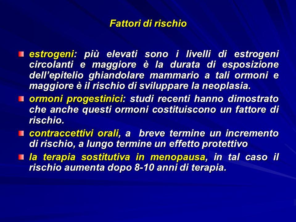 Fattori di rischio estrogeni: più elevati sono i livelli di estrogeni circolanti e maggiore è la durata di esposizione dellepitelio ghiandolare mammar
