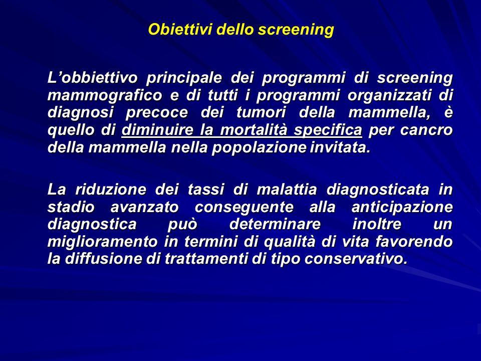 Obiettivi dello screening Lobbiettivo principale dei programmi di screening mammografico e di tutti i programmi organizzati di diagnosi precoce dei tu
