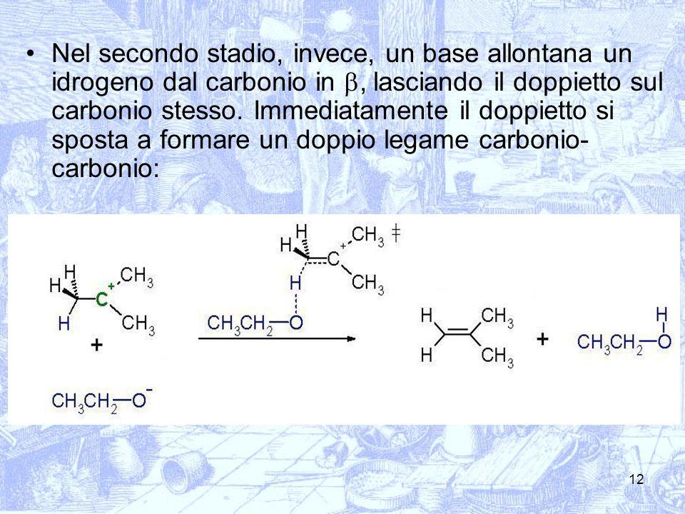 12 Nel secondo stadio, invece, un base allontana un idrogeno dal carbonio in, lasciando il doppietto sul carbonio stesso. Immediatamente il doppietto