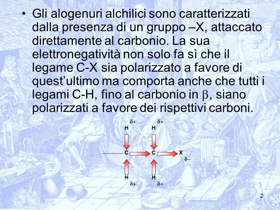 3 Questa situazione spiega la reattività degli alogenuri alchilici che può essere riassunta in 1) sostituzione di X per opera di un nucleofilo (sostituzione nucleofila) 2) allontanamento di un H + dal carbonio in con contemporanea formazione di un doppio legame carbonio-carbonio e uscita dello ione alogenuro (eliminazione) HH HH CCX Nu