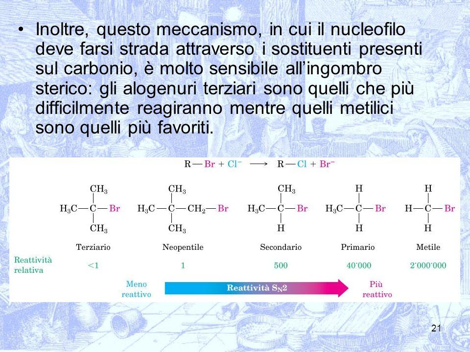 21 Inoltre, questo meccanismo, in cui il nucleofilo deve farsi strada attraverso i sostituenti presenti sul carbonio, è molto sensibile allingombro st