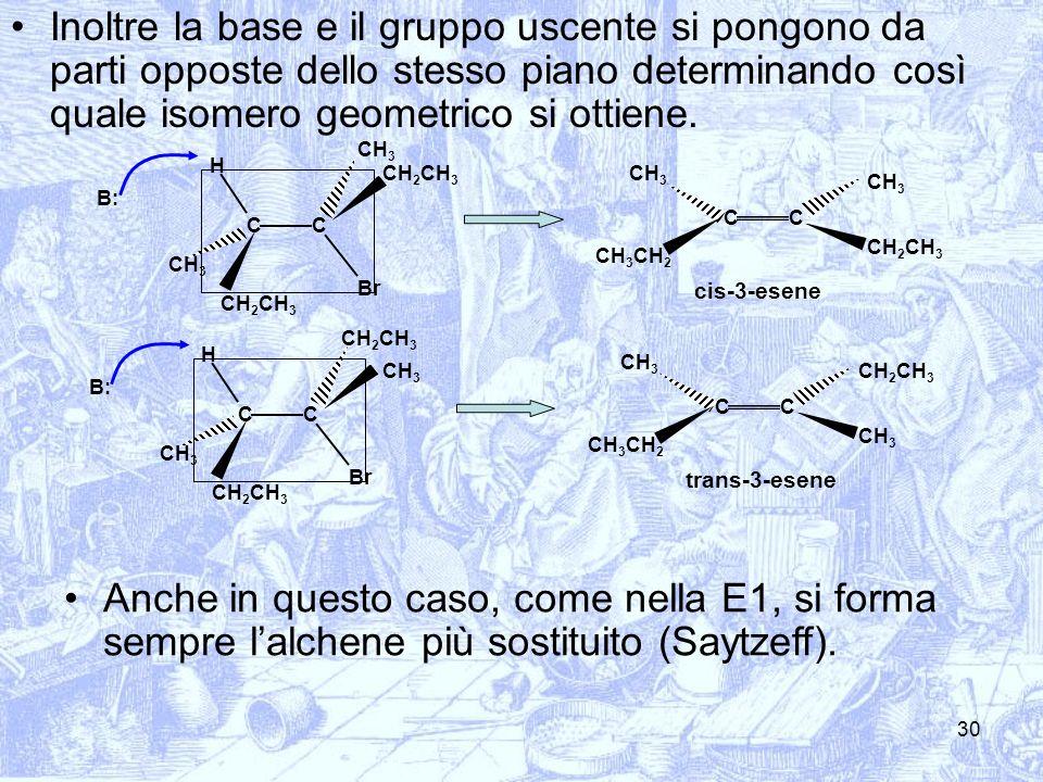 30 Inoltre la base e il gruppo uscente si pongono da parti opposte dello stesso piano determinando così quale isomero geometrico si ottiene. CC CH 2 C