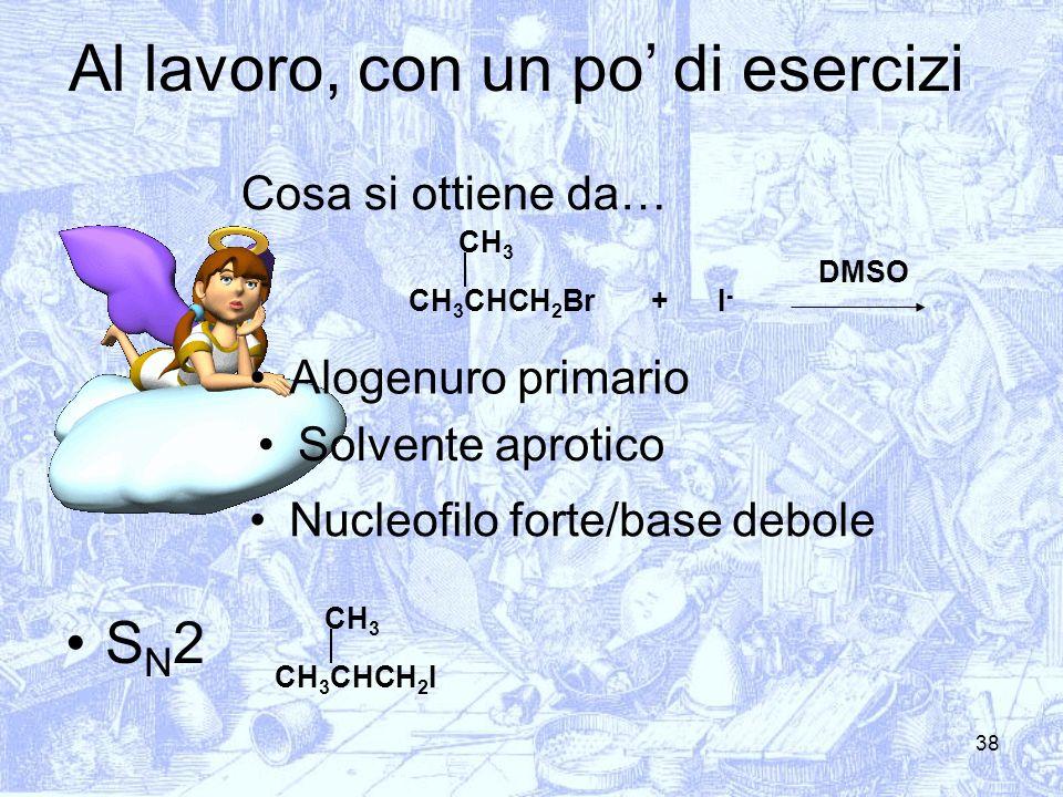 38 Cosa si ottiene da… CH 3 CHCH 2 Br CH 3 I-I- + Alogenuro primario Solvente aprotico Nucleofilo forte/base debole S N 2 CH 3 CHCH 2 I CH 3 DMSO Al l