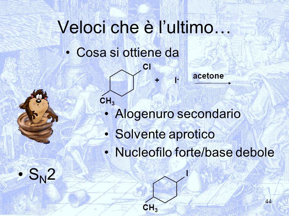 44 Veloci che è lultimo… Cosa si ottiene da I-I- + S N 2 acetone Cl Alogenuro secondario Solvente aprotico Nucleofilo forte/base debole CH 3 I
